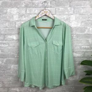 J. McLaughlin green printed button down shirt